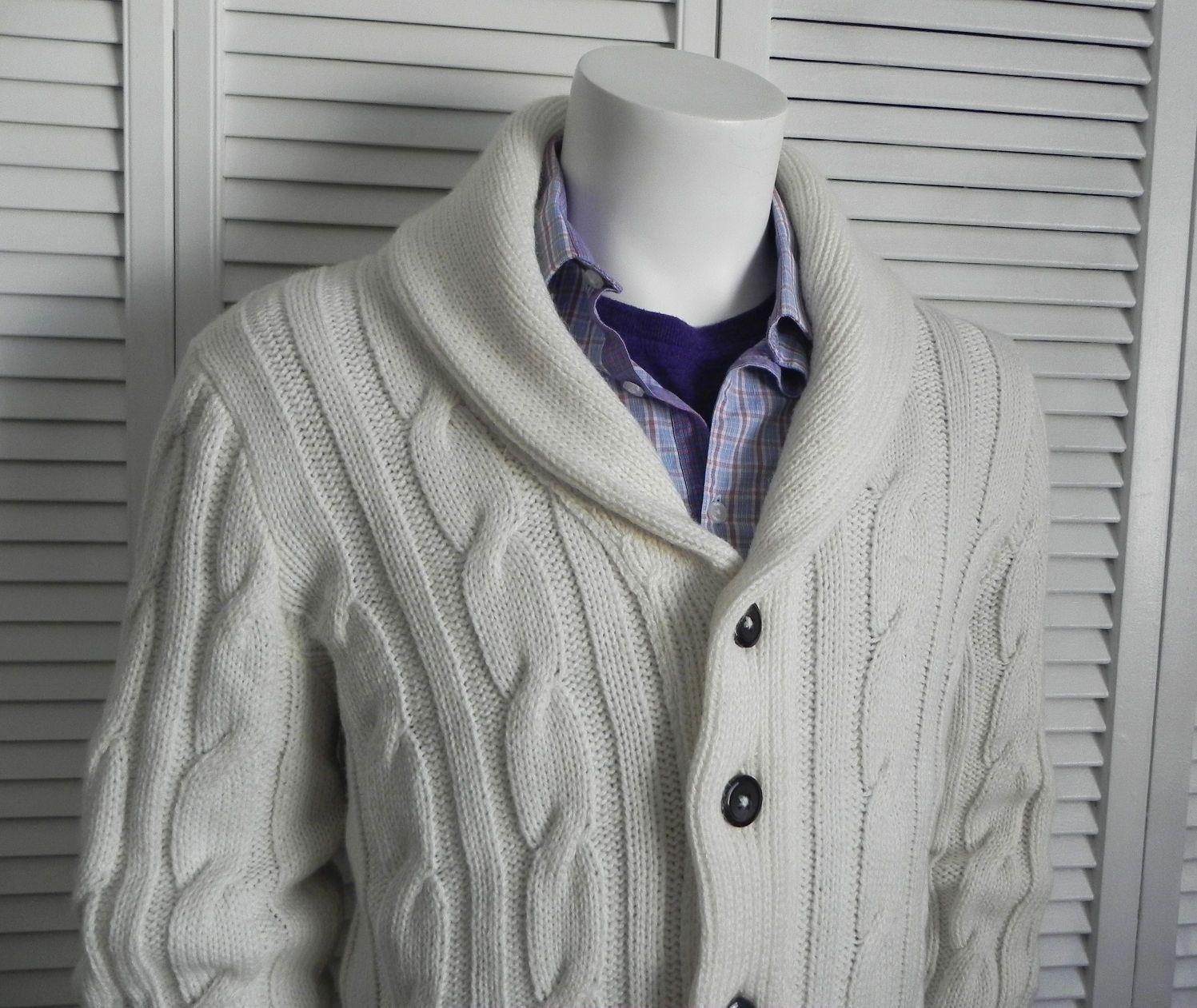 New Mens Sz 2XL XXL Alpaca Ivory White Cable Knit Shawl Collar ...