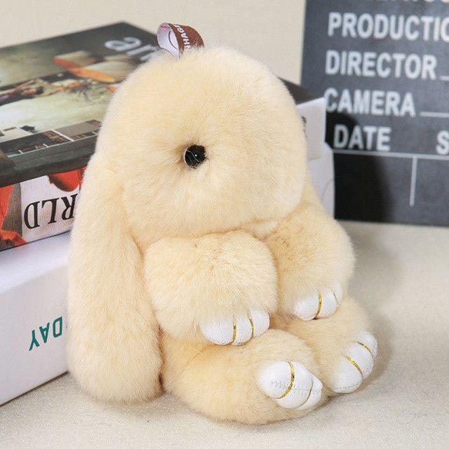 2017 Cute Fluffy Bunny Keychain Women Trinket Rabbit Key Ring Hare Pompom Dolls  Toy Car Key Holder Animal Steering-wheel Pendant 35181e7e9