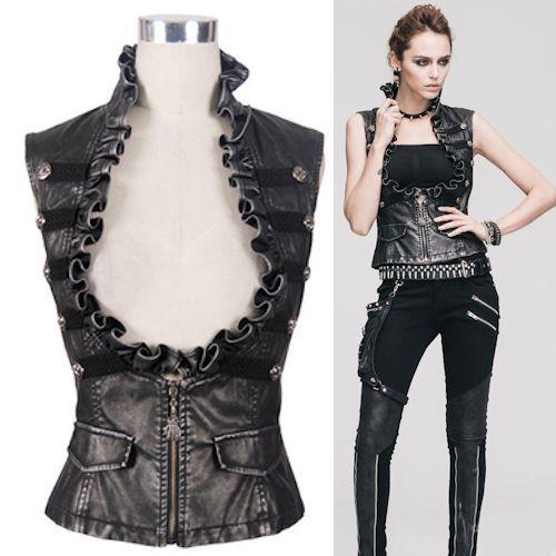 Metallic Black Silver Steam Punk Steampunk Corset Vests Women SKU-11401529