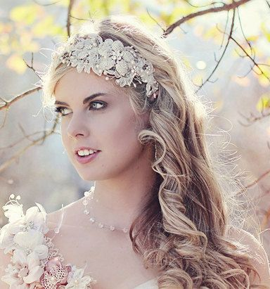 R1600 Wedding Head Band Ivory lace with by KathleenBarryJewelry, $162.00
