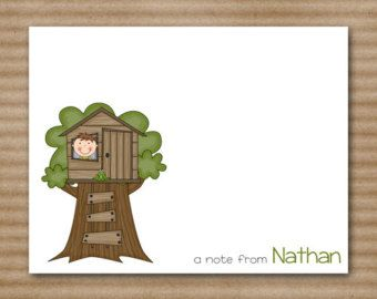 Set of 8 Treehouse Note Cards - Notecards - Boys - Tree House - Personalized