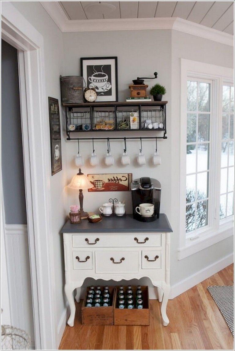 75+ Best Farmhouse Kitchen Design Ideas Coffee bar home