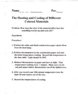 Heating Cooling Lab Heating And Cooling Middle School Science