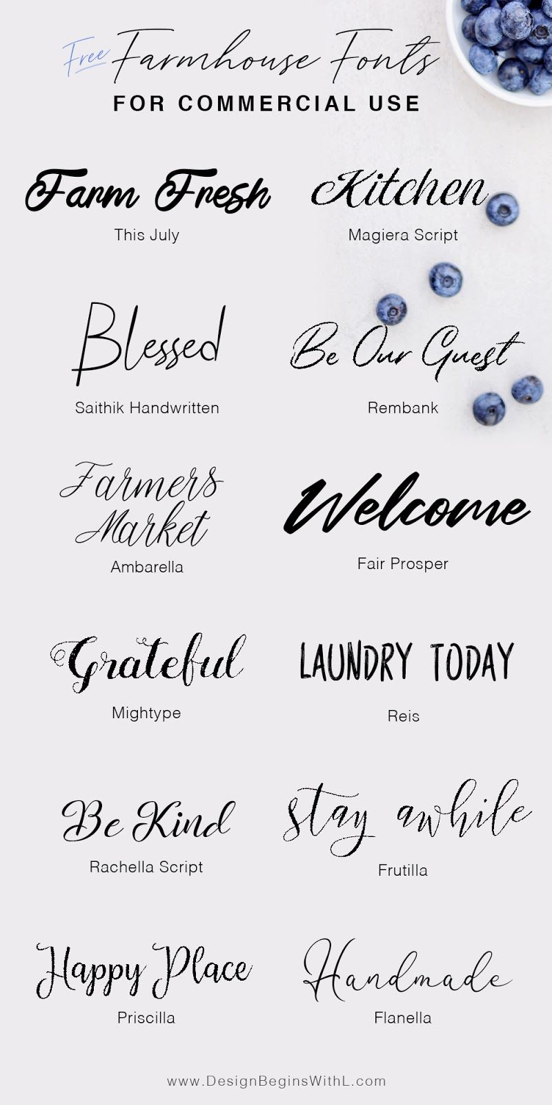 12 Free Farmhouse Fonts For Commercial Use Farmhouse