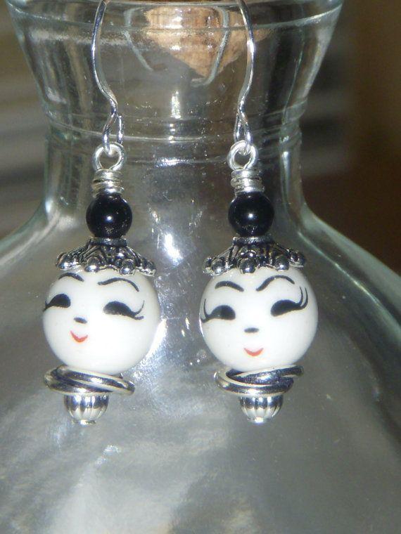 Smiling Dancing Ladies Porcelain Hook Earrings by Baublebys, $12.00