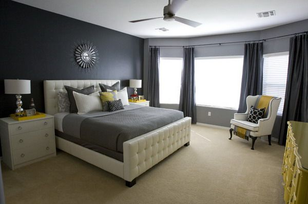 contemporary bedroom design ideas for men with grey wall paint decor and yellow accent furniture - Grey Bedrooms Decor Ideas