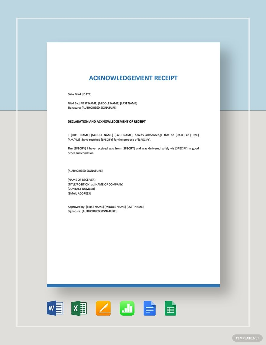 Instantly Download Acknowledgement Receipt Template Sample Example In Microsoft Word Doc Goog Receipt Template Free Receipt Template Best Resume Template