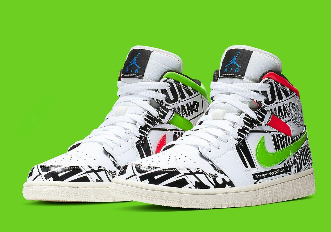 Air Jordan 1 Mid Appears With AllOverPrint Logos