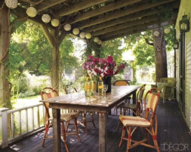 """Porch has a """"vintage"""" feel.  Love the little string of lights, perfect."""