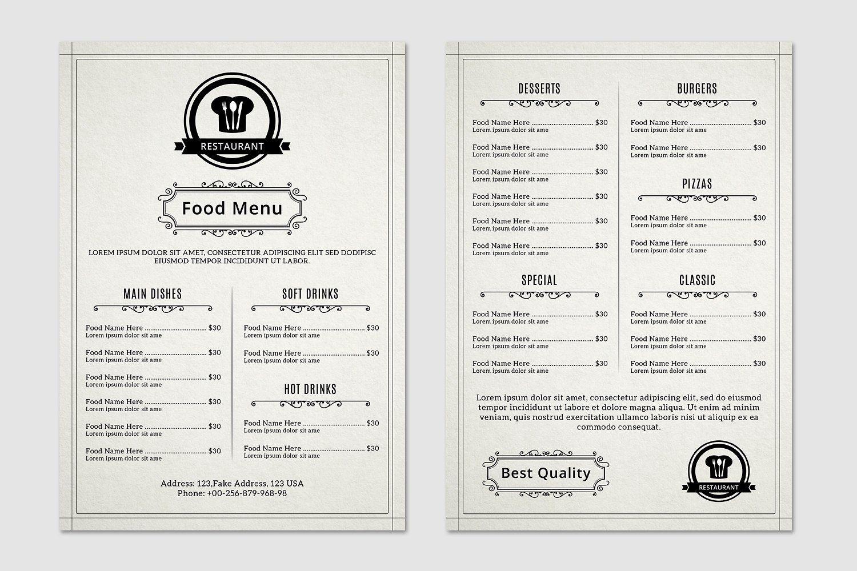 food restaurant menu flyer v367