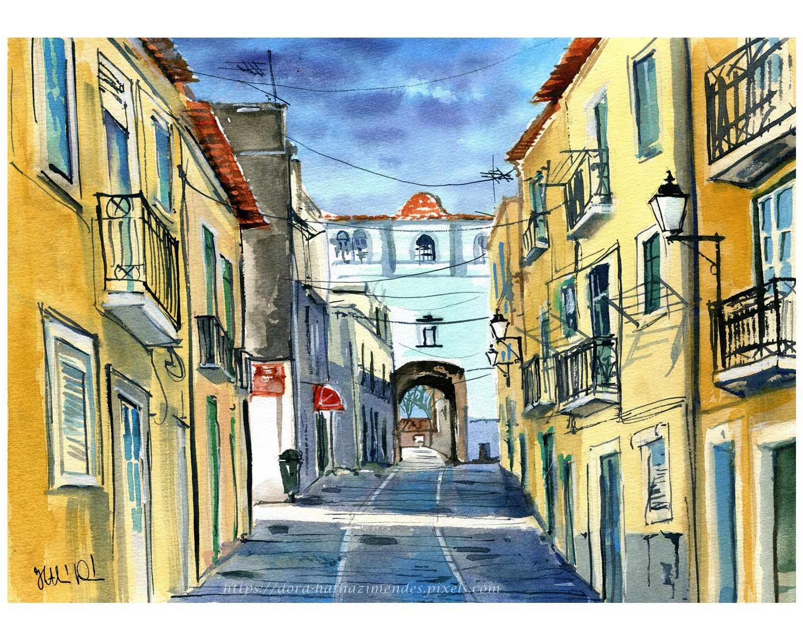 Original Portugal Painting Old Town Setubal Handmade Watercolor Portuguese Art Portugal Paintings Portugal Wall Art Street Painting Setubal Old Town
