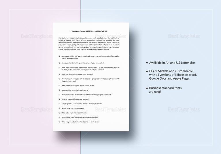 Checklist Sales Representative Evaluation Template Sales - evaluation template