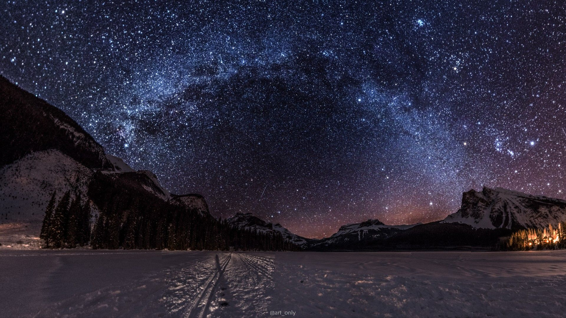 The Night Sky At Emerald Lake Bc On A Cold Winter Night Oc 19201080 Reddit Emerald Lake Bc Nature Photos Snowy Field