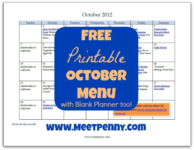 Free Printable October Dinner Menu With Blank Planner Rice
