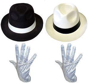 MENS LADIES MICHAEL JACKSON SILVER SEQUIN GLOVE AL CAPONE HAT 70 80S FANCY DRESS