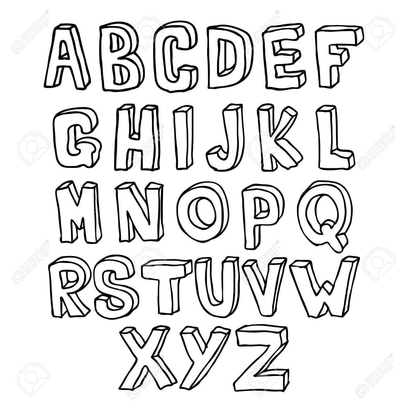 Hand Drawn Lettering 3d Inscricao Letras De Mao Do Alfabeto