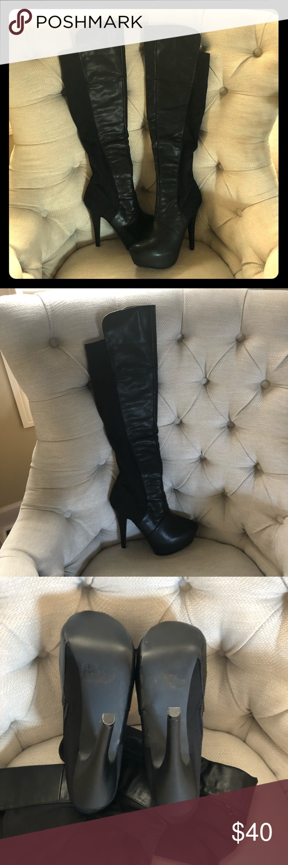 """43122fbebc7c Over the knee fitted black boots Fitted over the knee boots. Halloween  Sweater  Dress  Leggings  Jeans   Perfect and Sexy!! Hidden 2"""" inside wedge 5"""" heel."""