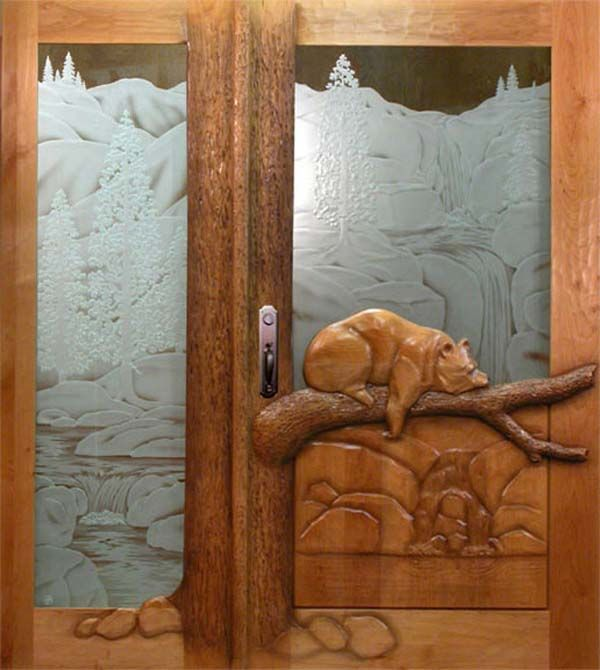 24 Hand carved wooden door designing ideas - Loved the etched scene and the carving on & 24 Hand carved wooden door designing ideas - Loved the etched ... Pezcame.Com