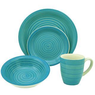 @Overstock.com - 16-Piece Blue Swirl Stoneware Dinnerware Set - This elegant  sc 1 st  Pinterest & Overstock.com - 16-Piece Blue Swirl Stoneware Dinnerware Set - This ...