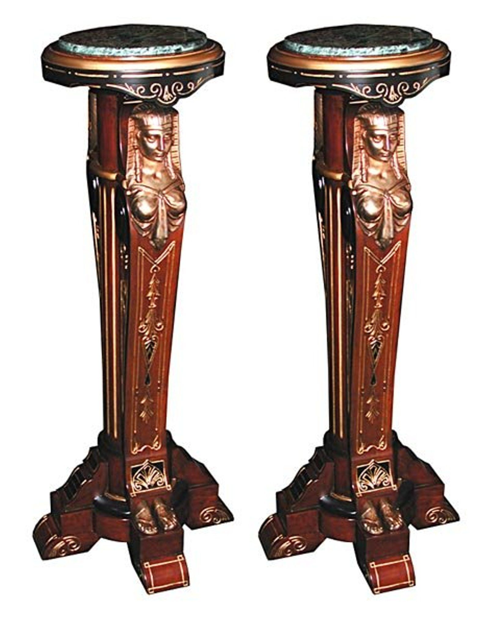 5430 Beautiful 19th C Eqyptian Revival Pedestals by Po