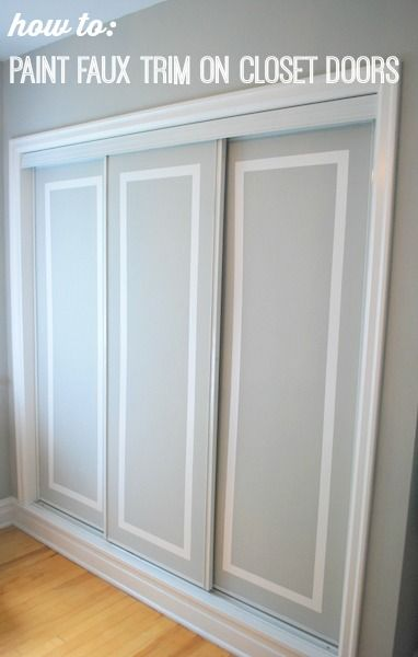 Doesn't this look like real trim? It's not! Learn how to turn boring sliding closet doors into beautiful ones with some paint and tape! Click for the full DIY faux trim closet doors tutorial over on the blog.