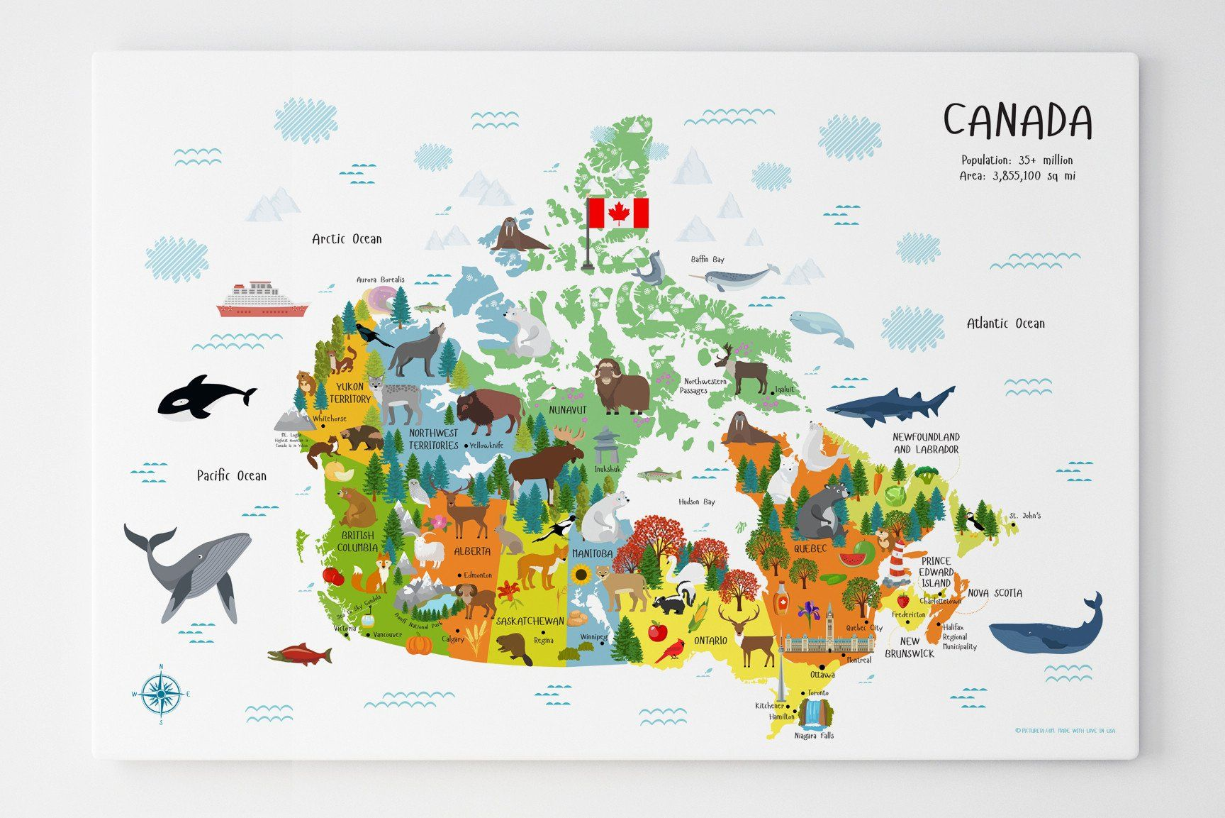 Canada Travel Map Canada Map | Map of Canada for Kids Canvas for Nursery of Playroom