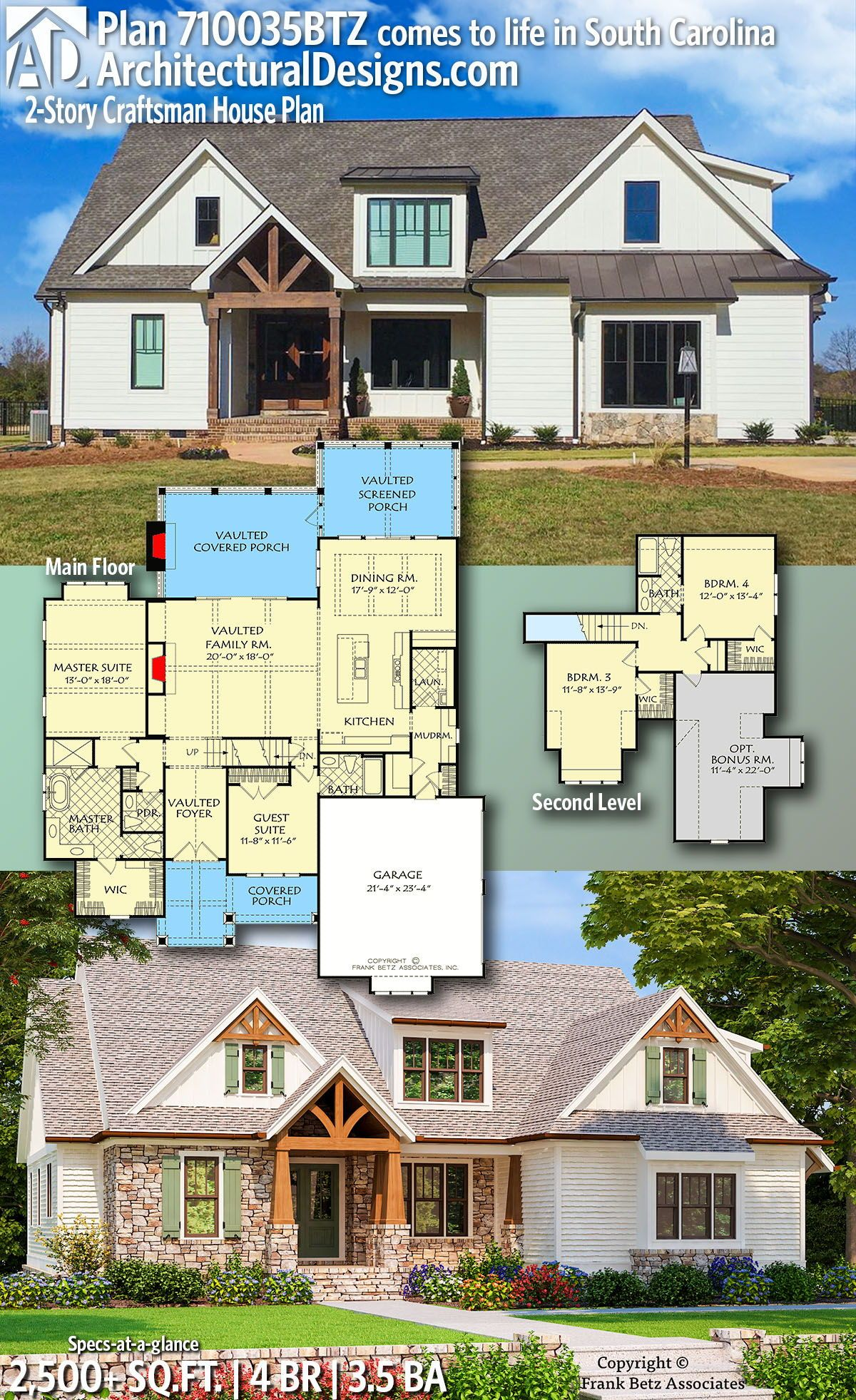 Building A Shed Dormer House Addition Ideas For Extra Living Space: Plan 710035BTZ: 2-Story Craftsman House Plan With Mixed Material Exterior In 2020 (With Images