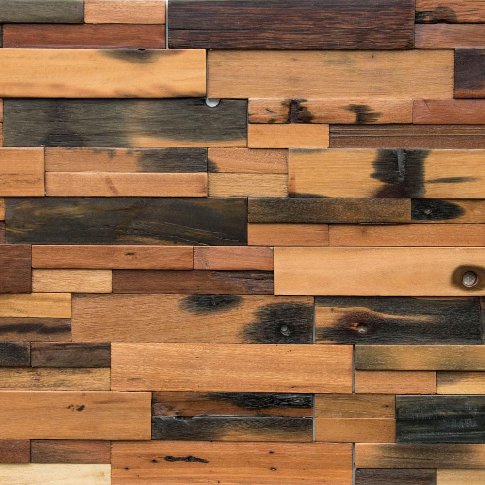 Realstone Systems Reclaimed Wood 1 2 In X 24 In X 12 In Multi Teak Wood Wall Panel 10 Box Rwp Mlt The Home Depot In 2020 Wood Panel Walls Wooden Wall Panels Reclaimed Wood Paneling