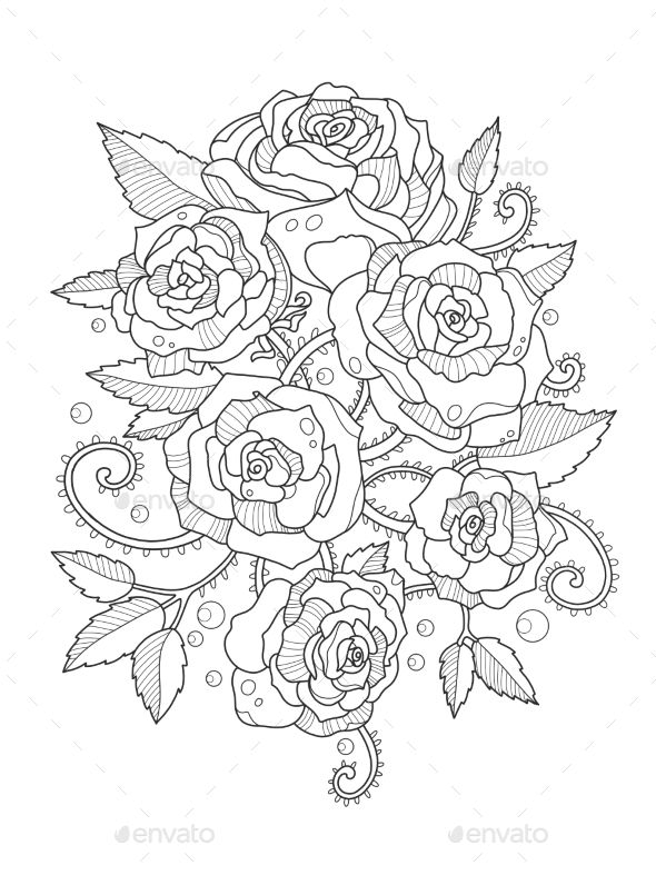 Roses Coloring Book for Adults - Tattoos Vectors | Graphics, logos ...