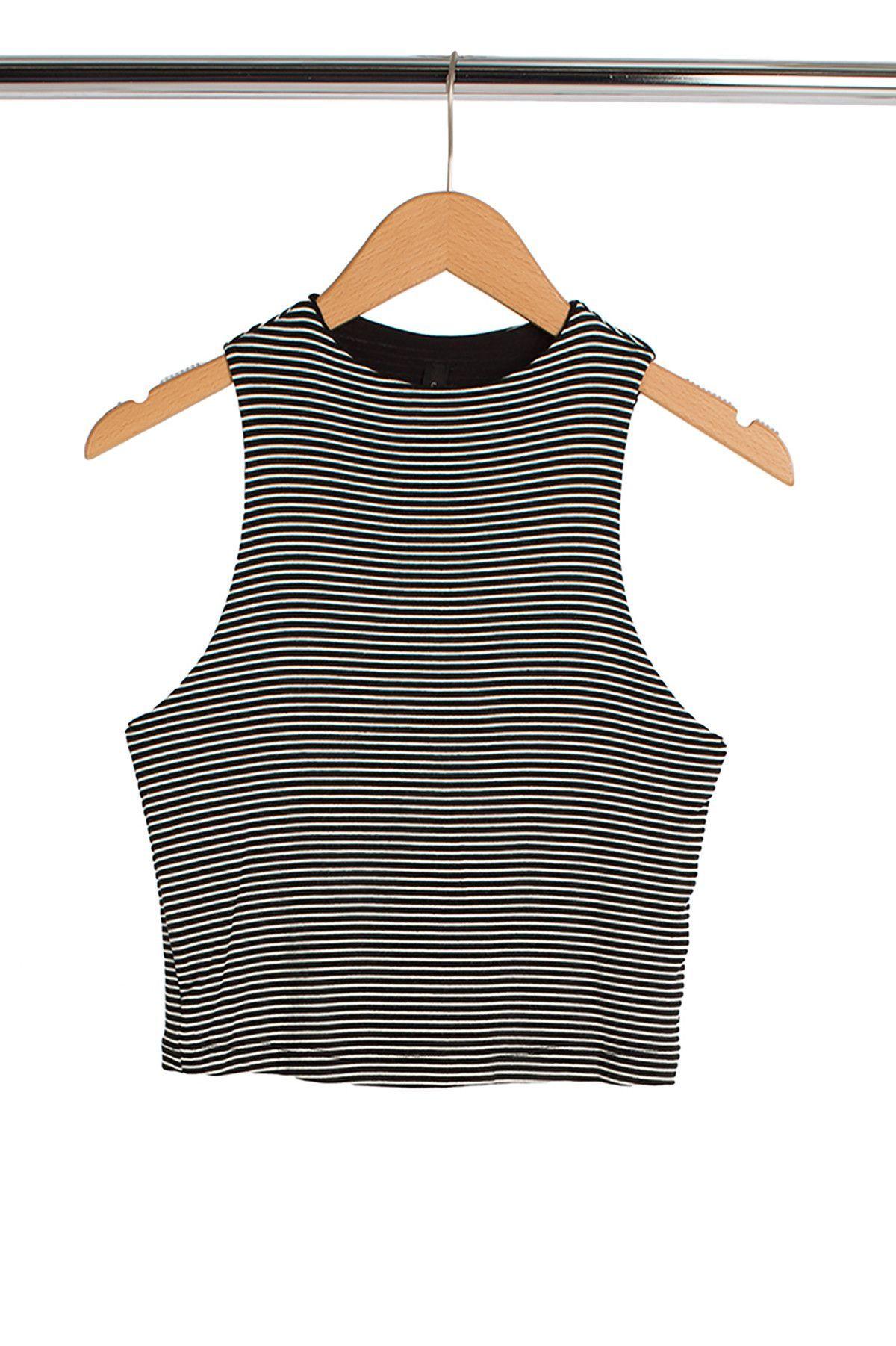Black + White Striped Crop Top