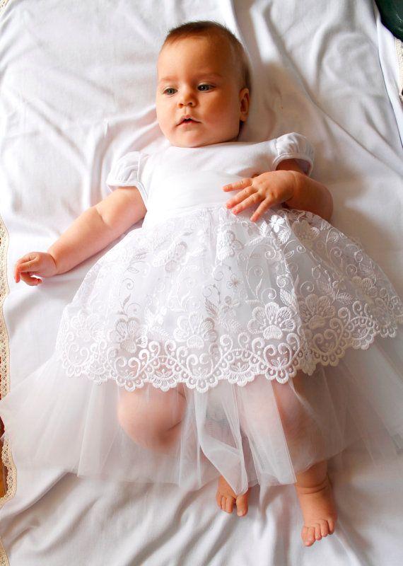 Baby Taufe Kleid, Taufe Kleid Mädchen, weiße Baby Kleid, Kommunion ...