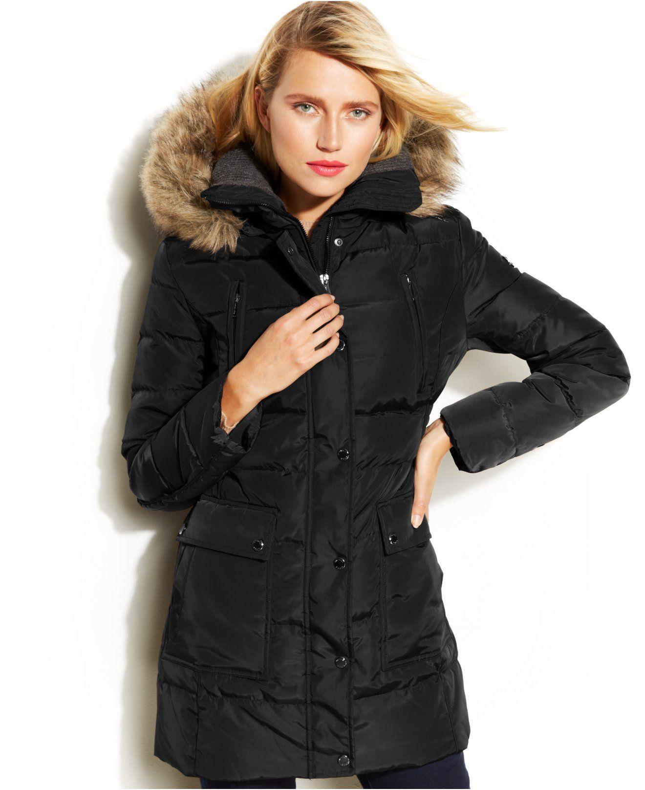 Michael Michael Kors Hooded Faux Fur Trim Down Puffer Coat Coats Women Macy S Down Puffer Coat Puffer Coat Hooded Faux [ 1616 x 1320 Pixel ]