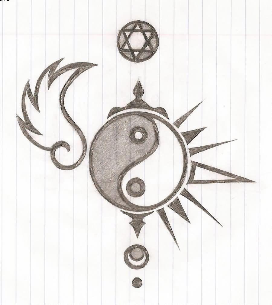 Yin Yang Tattoo Sketch