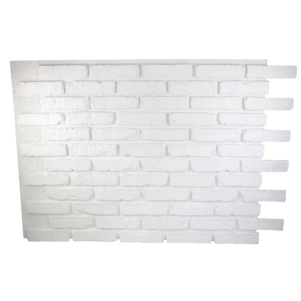 Dove White 32 In X 47 In X 3 4 In Faux Reclaimed Brick Panel Faux Brick Faux Brick Panels Faux Brick Walls