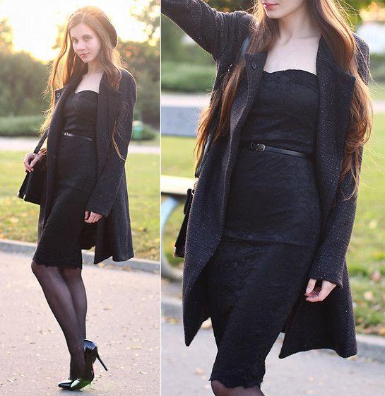 Lace black dress pumps