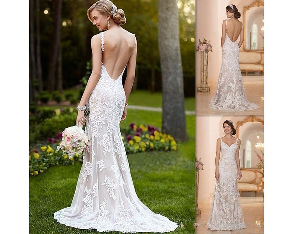 Hot Sexy Backless Wedding Dress White Ivory Bridal Gowns Custom