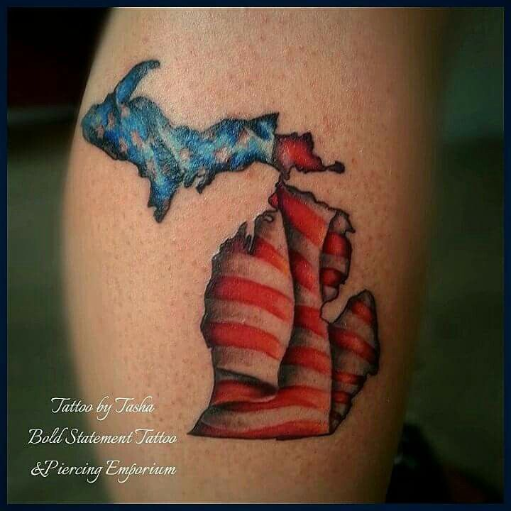 Michigan outline with the American flag full color tattoo