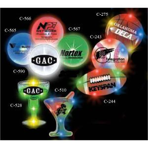 Having a evening event? Try flashing LED Martini or Margarita glasses.  artini Glass - Want to be seen at your next tradeshow? Choose a stock shape flashing LED button! Each flashing blinky badge features an easy-to-use Tie-Tac butterfly backing. Batteries included and installed. The perfect promotional product for concerts, fundraisers, conventions, spirit nights, corporate events, amusement parks, speed dating and more. Choking hazard. Not for children under 3 years.