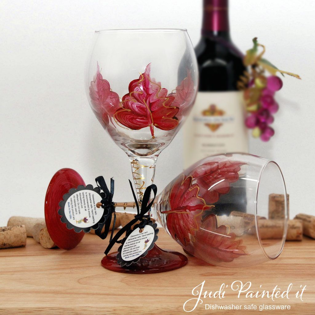 Engine Red Leaf Wine Glass Painted Wine Glass Wine Glass Hand Painted Glassware