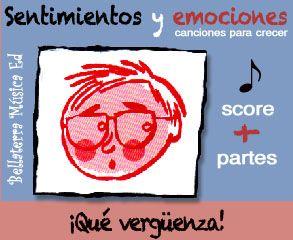 """Sentimientos y emociones: """"¡Qué vergüenza!"""" Descárgate de forma gratuita la partitura orquestada para 2 violines, piano, violoncello y bajo del tema.  El archivo comprimido de 9,9MB incluye la partitura orquestal mas las partes de cada instrumento y la letra de la canción en formato PDF.  link: http://www.bellaterramusica.com/llibre.php?titol=43&ap=audio&v=esp#.U-zoN1ZoTUQ"""