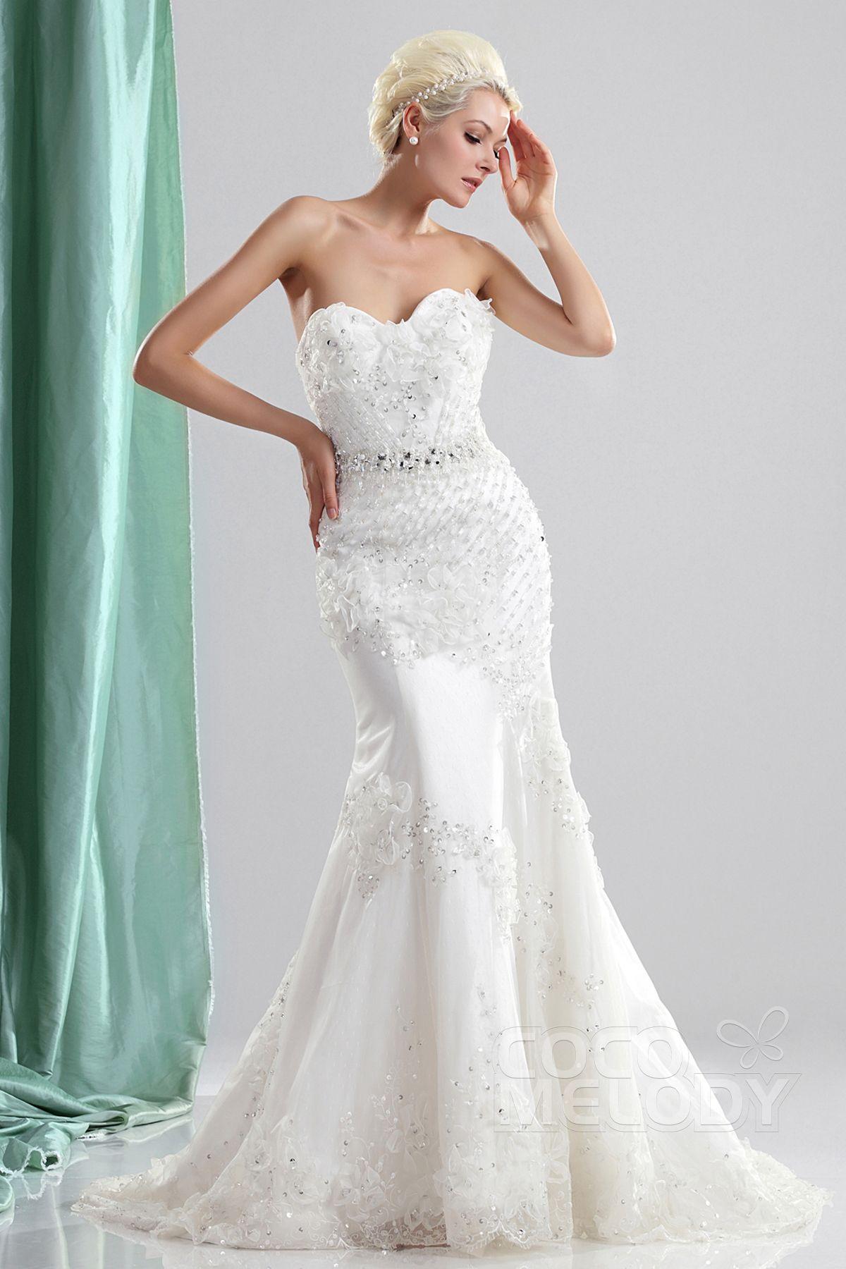 Glamour Trumpet-Mermaid Sweetheart Sweep-Brush Train Organza Wedding Dress CWLT130E5