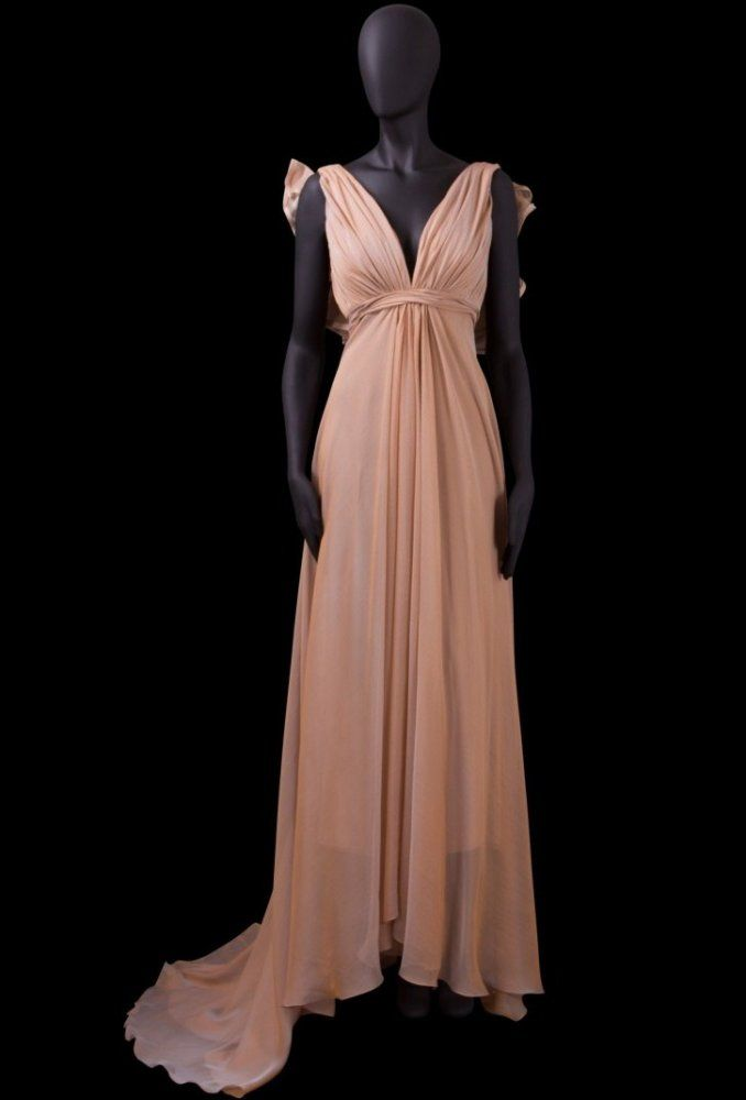 A-line V-neck Ruched Bodice Ruffle Back V-back Chiffon Evening Dress-soe0062, $172.95
