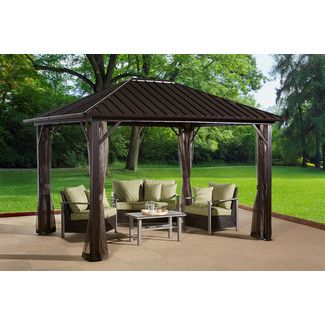 James Aim 10 Ft W X 10 Ft D Metal Permanent Gazebo Patio Patio Gazebo Pergola Patio