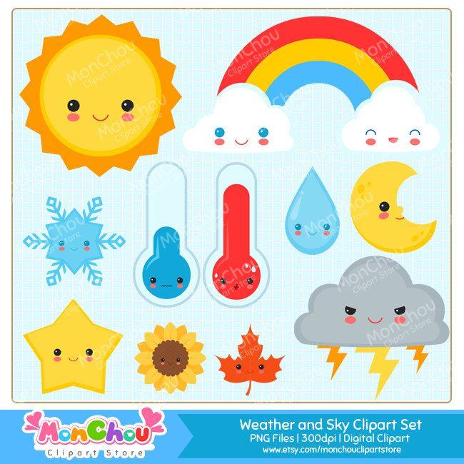 Cute Weather and Sky Clipart Set - Kawaii Weather and Seasons ...