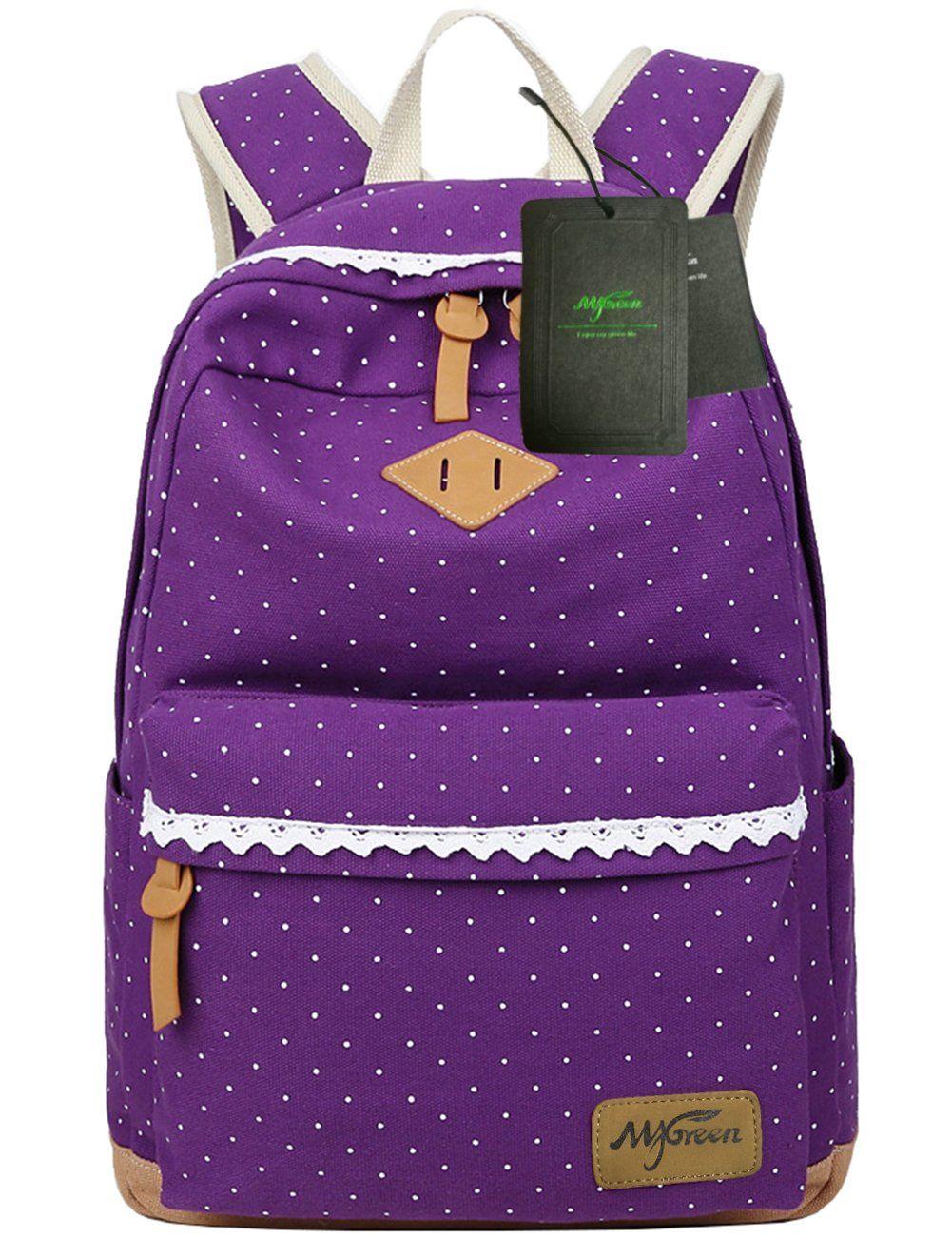 Mygreen Polka Dot Canvas School Backpack Bag Cute Bookbag For S Womens Medium Purple