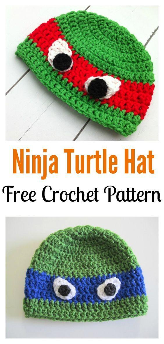 Crochet Ninja Turtle Patterns   Gorros, Gorros crochet y Tejido