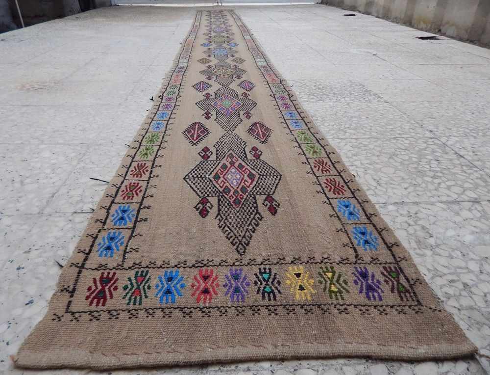 16 Foot Vintage Extra Long Narrow Handmade Unique Tribal Kilim Rug Hall Runner