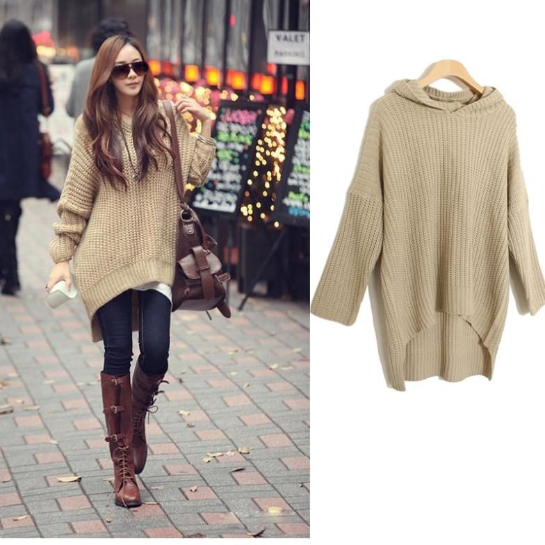 Korean Fashion autumn and winter color irregular hem loose hooded ...