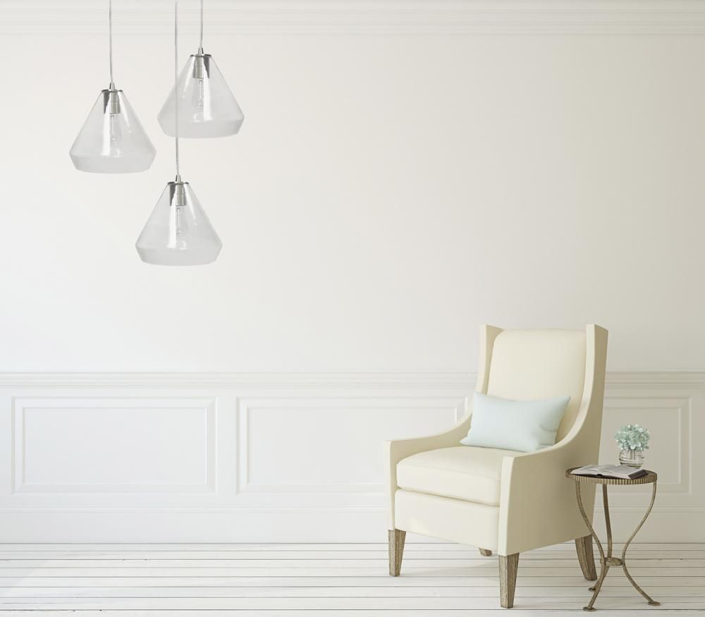 Photo of Instant Pendant Recessed Light Conversion Kit Brushed Nickel Clear Glass Shade PBN-6003-0700