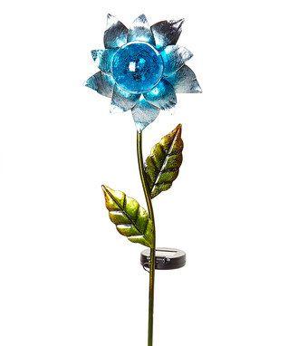 Blue Glass Ball U0026 Solar Flower Garden Stake